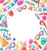 De achtergrond van de kaderviering met de stickers en de voorwerpen van Carnaval vector illustratie