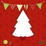 De achtergrond van de kerstboom en bunting Royalty-vrije Stock Afbeelding