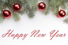 De achtergrond van de Kerstmisdecoratie met bericht` Gelukkig Nieuwjaar ` Stock Foto's