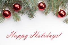 De achtergrond van de Kerstmisdecoratie met bericht` Gelukkige Vakantie! ` Stock Afbeelding