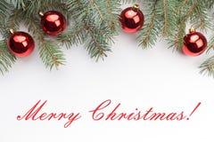 De achtergrond van de Kerstmisdecoratie met bericht` Vrolijke Kerstmis! ` Royalty-vrije Stock Afbeeldingen