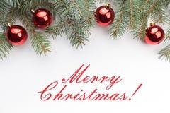 De achtergrond van de Kerstmisdecoratie met bericht` Vrolijke Kerstmis! ` Stock Foto's