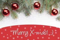 De achtergrond van de Kerstmisdecoratie met bericht` Vrolijke Kerstmis! : ` Stock Foto