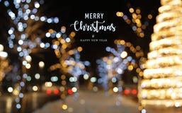 De achtergrond van de Kerstmisdecoratie met lichten gloeiende kaart Royalty-vrije Stock Foto