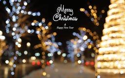 De achtergrond van de Kerstmisdecoratie met lichten het gloeien Stock Fotografie