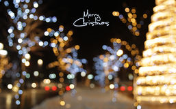 De achtergrond van de Kerstmisdecoratie met lichten het gloeien Royalty-vrije Stock Afbeeldingen