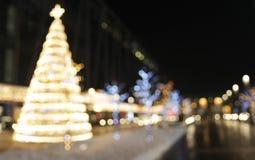 De achtergrond van de Kerstmisdecoratie met lichten het gloeien Royalty-vrije Stock Fotografie