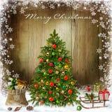 De achtergrond van de Kerstmisgroet met Kerstboom en giften Royalty-vrije Stock Fotografie