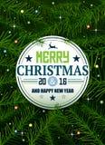 De achtergrond van de Kerstmispijnboom met lichten en sterren Vector illustratie Stock Fotografie