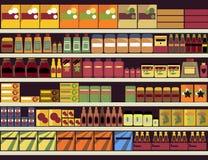 De achtergrond van de kruidenierswinkelopslag Stock Foto's