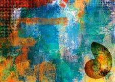 De achtergrond van de kunst grunge met shell Stock Afbeeldingen
