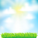 De achtergrond van de lente met gras Royalty-vrije Stock Foto's