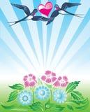 De achtergrond van de lente met slikt vector illustratie
