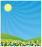 De achtergrond van de lente met zon het glanzen Stock Afbeelding