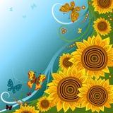 De achtergrond van de lente met zonnebloemen stock illustratie