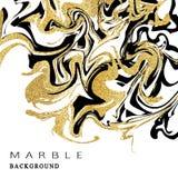 De achtergrond van de marmeringstextuur Het abstracte marmeren luxeontwerp met gouden schittert elementen Vector illustratie Stock Foto