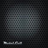 De achtergrond van de metaalcel met glanzend etiket Stock Fotografie