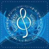 De achtergrond van de muziek met g-sleutel Stock Foto