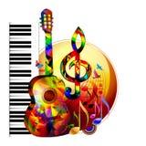De achtergrond van de muziek met gitaar Stock Fotografie