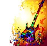De achtergrond van de muziek met gitaar Stock Afbeeldingen