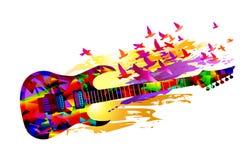 De achtergrond van de muziek met gitaar Stock Afbeelding