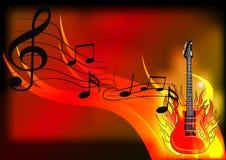De achtergrond van de muziek met gitaar en brand Royalty-vrije Stock Afbeelding