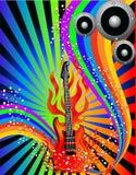De achtergrond van de muziek met gitaar en regenboog Stock Fotografie