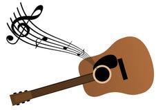 De achtergrond van de muziek met vguitar en nota's vector illustratie