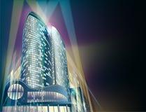 De achtergrond van de nacht met moderne stadsgebouwen Royalty-vrije Stock Foto's