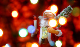De achtergrond van de nieuwjaar` s kaart met Santa Claus Stock Foto
