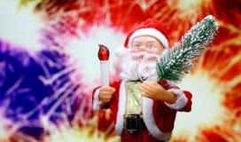 De achtergrond van de nieuwjaar` s kaart met Santa Claus Stock Foto's