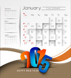 De Achtergrond van de nieuwjaarkalender 2015 Royalty-vrije Stock Foto