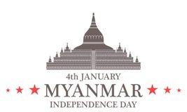 De achtergrond van de onafhankelijkheid Day myanmar royalty-vrije illustratie