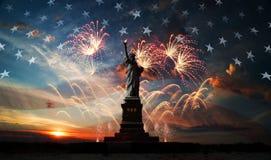 De achtergrond van de onafhankelijkheid Day Vrijheid die de Wereld informeert Stock Afbeeldingen