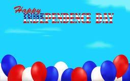 De achtergrond van de onafhankelijkheidsdag met ballons wordt verfraaid die Stock Fotografie
