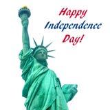 De achtergrond van de onafhankelijkheidsv.s. met Standbeeld van Vrijheid stock foto's