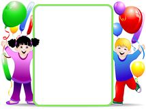 De Achtergrond van de Partij van de Verjaardag van jonge geitjes met Ballons Royalty-vrije Stock Foto's