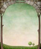 Ontworpen steenbogen en bomen. royalty-vrije illustratie