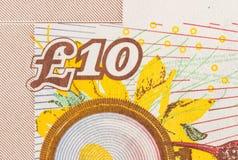 De achtergrond van de pondmunt - 10 Ponden Royalty-vrije Stock Foto