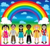 De Achtergrond van de regenboog met Jonge geitjes Stock Afbeeldingen