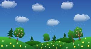 De achtergrond van de regenhemel met groene gras en bloemen vector illustratie