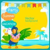 De achtergrond van de reis Het vector Ontwerp van de Zomer De zomerpartij Vectorconceptenbanner Royalty-vrije Stock Afbeeldingen