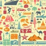 De achtergrond van de reis vakanties Het naadloze patroon van de strandtoevlucht Royalty-vrije Stock Foto's