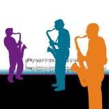 De Achtergrond van de saxofonist Royalty-vrije Stock Afbeeldingen