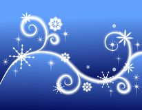 De Achtergrond van de Sneeuwvlokken en van de Wervelingen van sterren Stock Fotografie