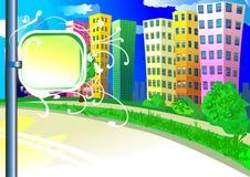 De achtergrond van de stad met tablet Stock Foto