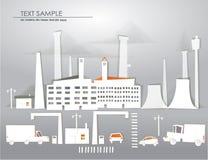 De achtergrond van de stadsfabriek van document wordt gemaakt dat Royalty-vrije Stock Afbeelding
