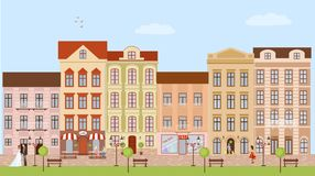 De achtergrond van de stadsstraat Stock Afbeelding