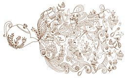 De achtergrond van de theetijd, krabbelillustratie Royalty-vrije Stock Foto's