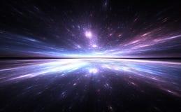 De achtergrond van de tijdafwijking, die in ruimte reizen vector illustratie
